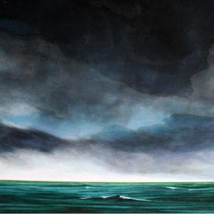 Tulle peint ciel et mer